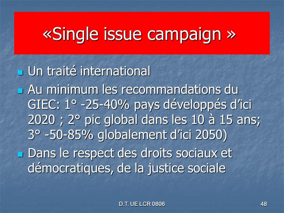 D.T. UE LCR 080648 «Single issue campaign » «Single issue campaign » Un traité international Un traité international Au minimum les recommandations du