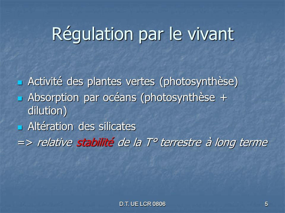 D.T. UE LCR 08065 Régulation par le vivant Activité des plantes vertes (photosynthèse) Activité des plantes vertes (photosynthèse) Absorption par océa
