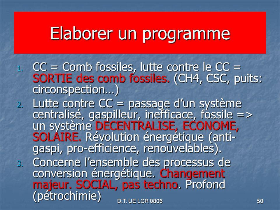 D.T. UE LCR 080650 Elaborer un programme 1. CC = Comb fossiles, lutte contre le CC = SORTIE des comb fossiles. (CH4, CSC, puits: circonspection…) 2. L