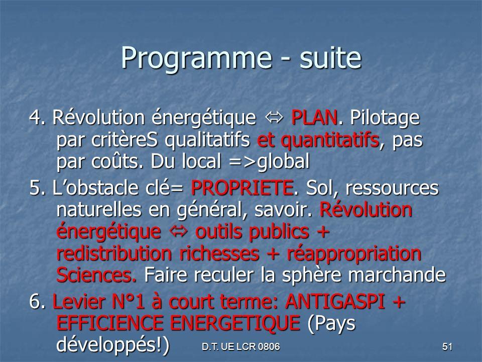 D.T. UE LCR 080651 Programme - suite 4. Révolution énergétique PLAN. Pilotage par critèreS qualitatifs et quantitatifs, pas par coûts. Du local =>glob