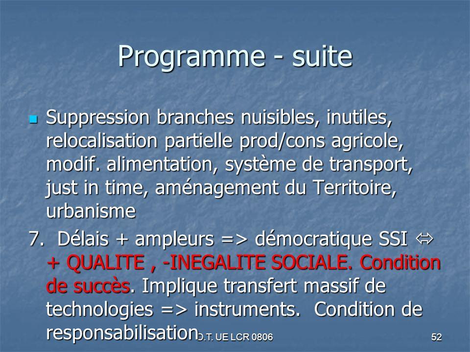 D.T. UE LCR 080652 Programme - suite Suppression branches nuisibles, inutiles, relocalisation partielle prod/cons agricole, modif. alimentation, systè