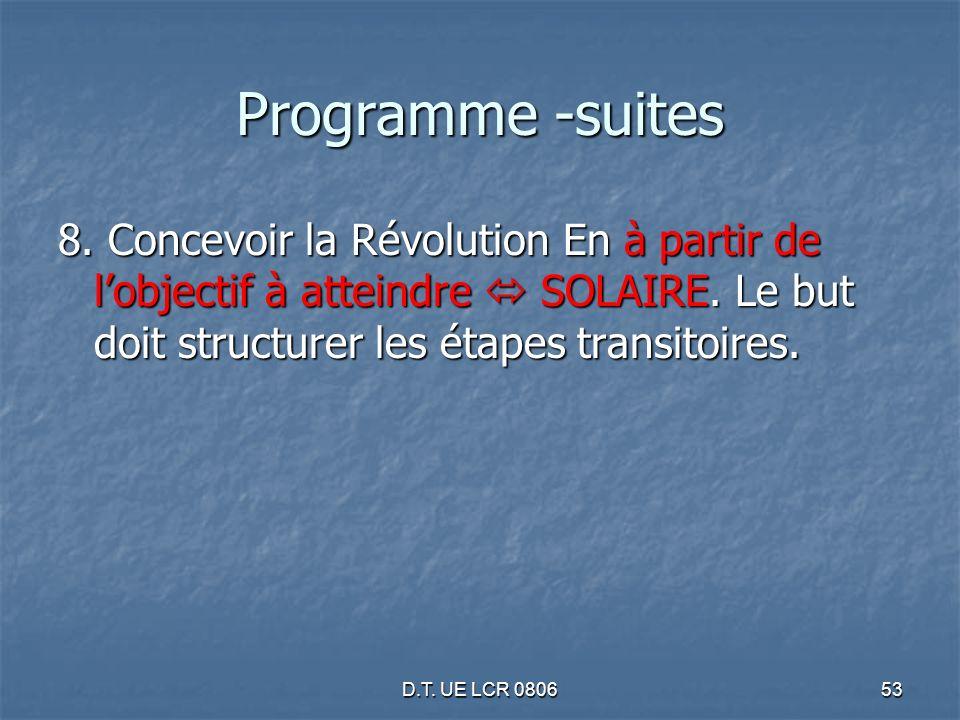 D.T. UE LCR 080653 Programme -suites 8. Concevoir la Révolution En à partir de lobjectif à atteindre SOLAIRE. Le but doit structurer les étapes transi