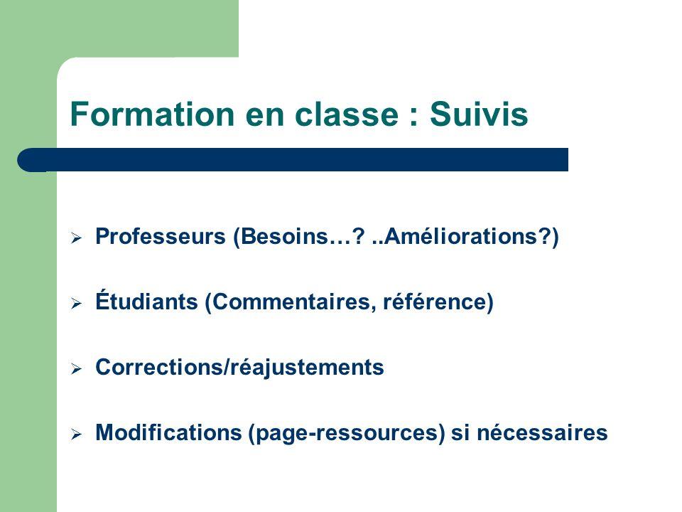 Formation en classe : Suivis Professeurs (Besoins…?..Améliorations?) Étudiants (Commentaires, référence) Corrections/réajustements Modifications (page