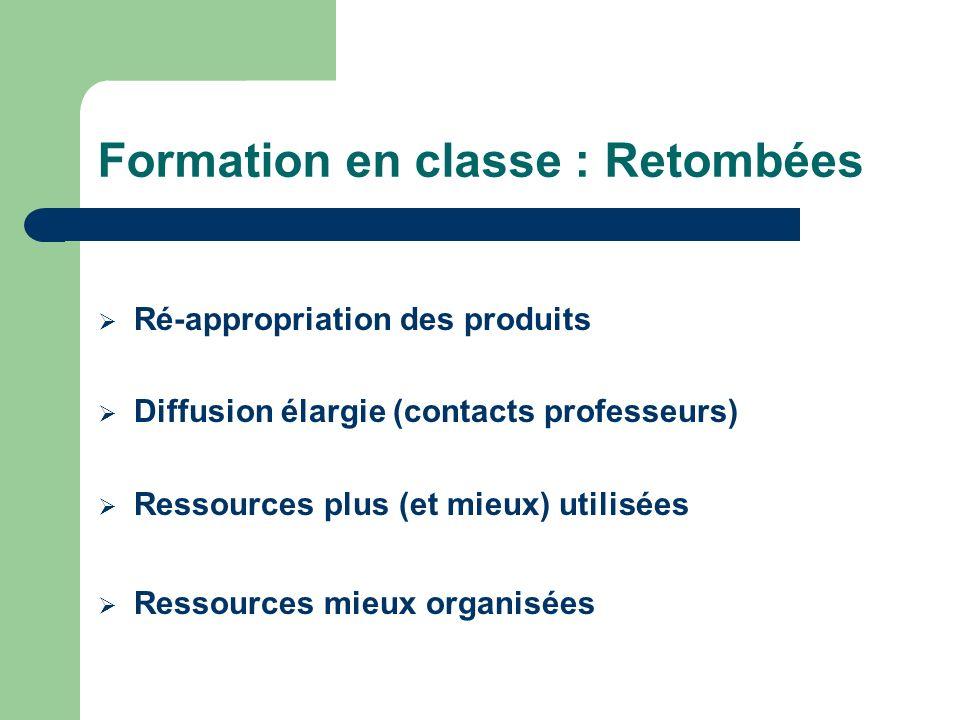 Formation en classe : Retombées Ré-appropriation des produits Diffusion élargie (contacts professeurs) Ressources plus (et mieux) utilisées Ressources