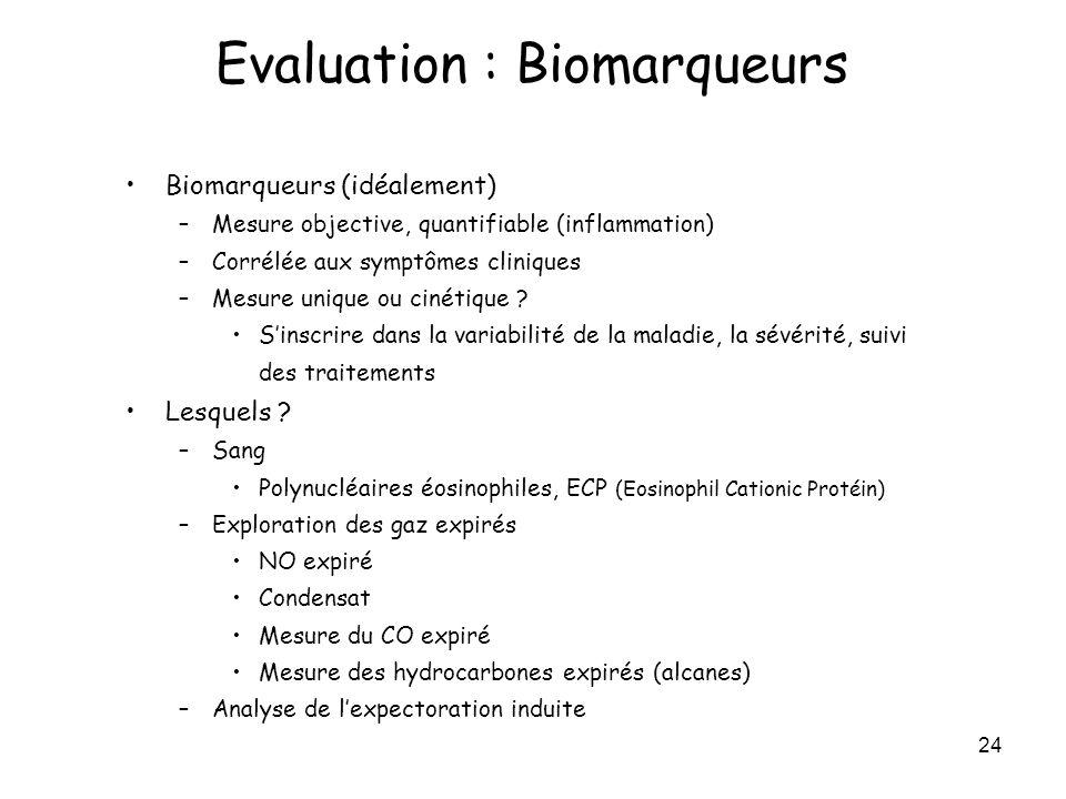 24 Biomarqueurs (idéalement) –Mesure objective, quantifiable (inflammation) –Corrélée aux symptômes cliniques –Mesure unique ou cinétique ? Sinscrire
