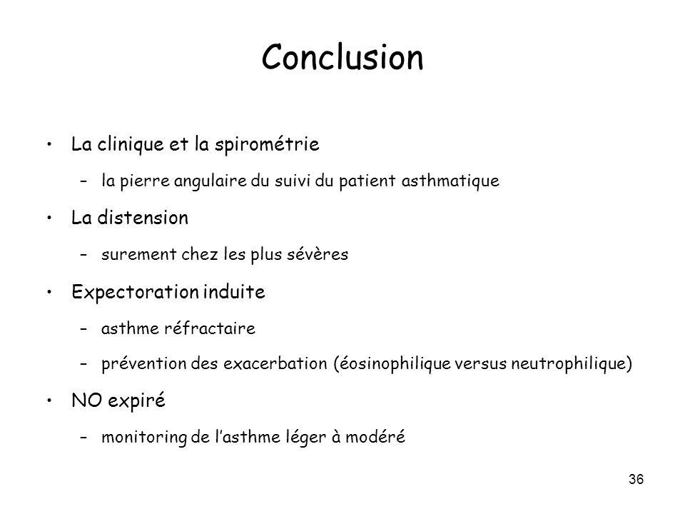 36 Conclusion La clinique et la spirométrie –la pierre angulaire du suivi du patient asthmatique La distension –surement chez les plus sévères Expecto