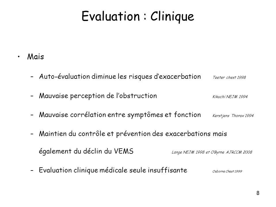 9 Sévérité et contrôle sont évalués sur lobstruction bronchique GINA : VEMS = DEP mais pas pour ANAES, NAEPP, BTS Discordance démontrée entre VEMS et DEP –Évaluation de la sévérité Llewellin respirology 2002, Aggarwal chest 2006, Sawyer CEA 1998 –Mauvaise concordance des mesures dans le suivi du TVO entre 2 visites Gautrin Chest 1994, Tirimanna Br J Pract 1996 Evaluation : EFR VEMS vs DEP
