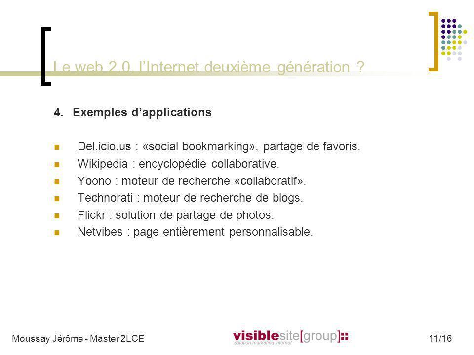 Le web 2.0, lInternet deuxième génération ? 4.Exemples dapplications Del.icio.us : «social bookmarking», partage de favoris. Wikipedia : encyclopédie