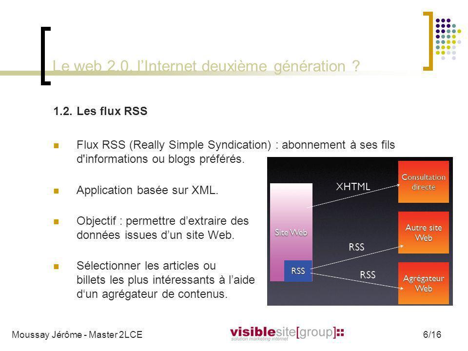 Le web 2.0, lInternet deuxième génération ? 1.2.Les flux RSS Flux RSS (Really Simple Syndication) : abonnement à ses fils d'informations ou blogs préf
