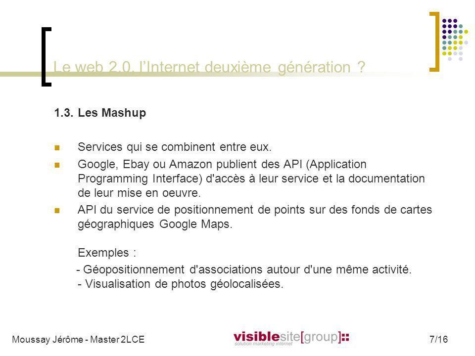 Le web 2.0, lInternet deuxième génération ? 1.3.Les Mashup Services qui se combinent entre eux. Google, Ebay ou Amazon publient des API (Application P