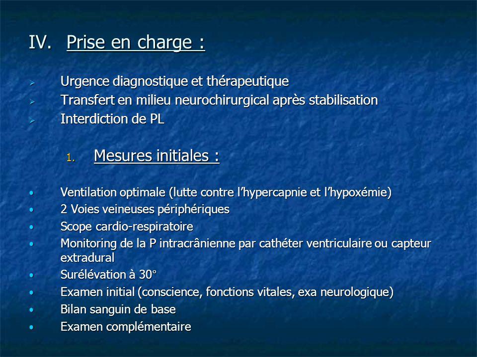 IV.Prise en charge : Urgence diagnostique et thérapeutique Urgence diagnostique et thérapeutique Transfert en milieu neurochirurgical après stabilisat