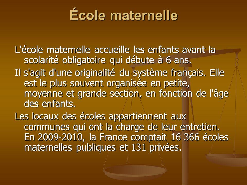 École maternelle : En France, en 2009, 11,6% des enfants de 2 ans et la quasi-totalité des enfants de 3 à 5 ans étaient scolarisés en maternelle.