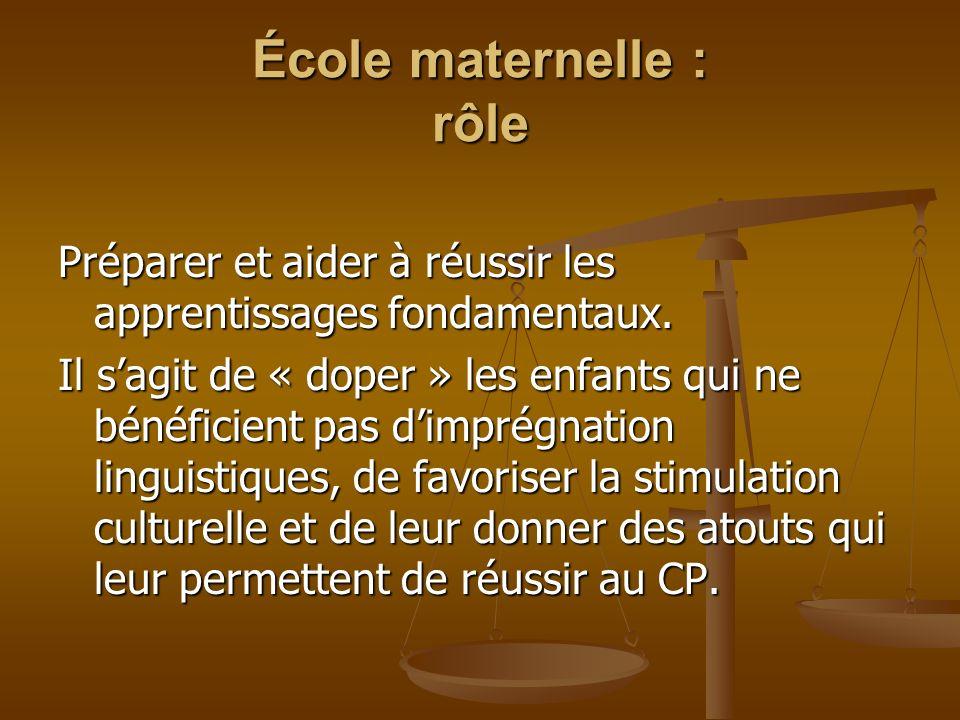 École maternelle : rôle Celle qui réussit, permet de se manifester, de gérer les écarts : Accélérateur de développement pour certains.
