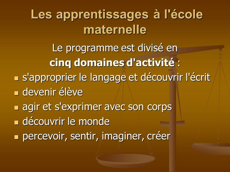 Les apprentissages à l école maternelle Les apprentissages à l école maternelle Chaque domaine a un titre commençant par un verbe à linfinitif => dynamique Conjugué, le sujet des verbes est lenfant.