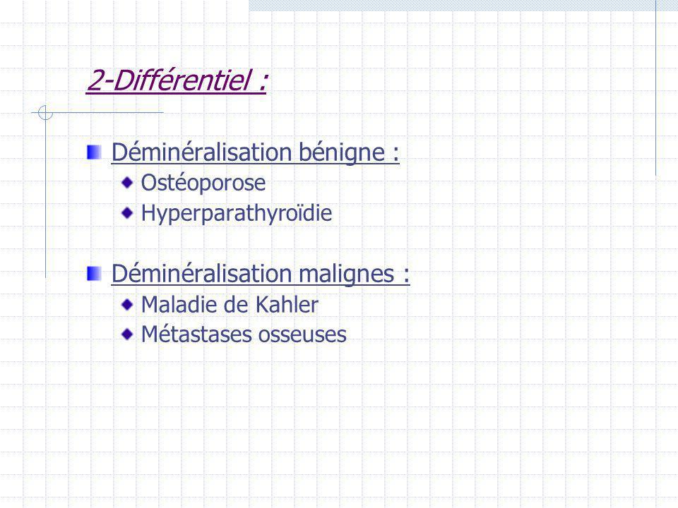 2-Différentiel : Déminéralisation bénigne : Ostéoporose Hyperparathyroïdie Déminéralisation malignes : Maladie de Kahler Métastases osseuses