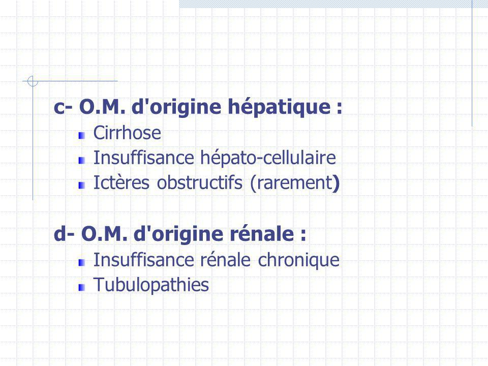 c- O.M. d'origine hépatique : Cirrhose Insuffisance hépato-cellulaire Ictères obstructifs (rarement) d- O.M. d'origine rénale : Insuffisance rénale ch