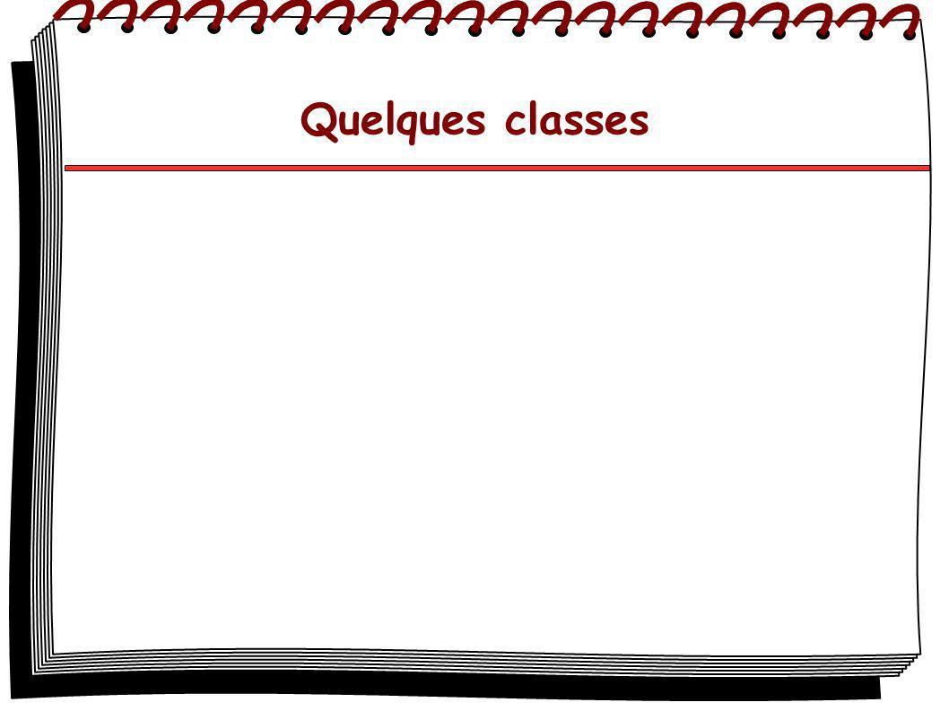 La classe Object Il s agit de la classe principale, elle contient les fonctions : protected Object clone() qui crée et retourne une copie de l objet boolean equals(Object obj) qui détermine si obj est égal à l objet courant.