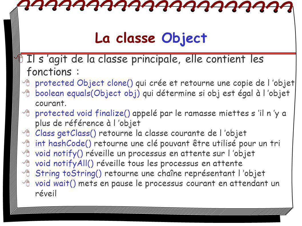 La classe Object Il s agit de la classe principale, elle contient les fonctions : protected Object clone() qui crée et retourne une copie de l objet b