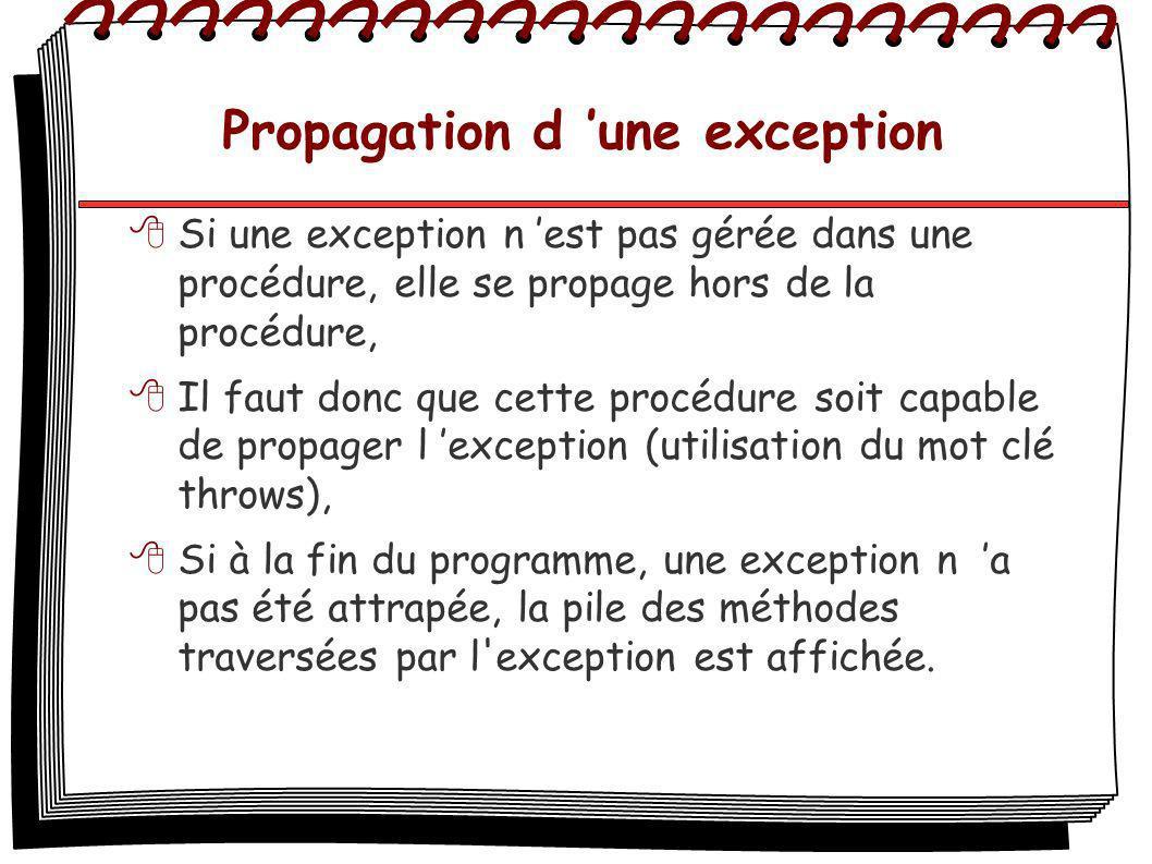 Propagation d une exception Si une exception n est pas gérée dans une procédure, elle se propage hors de la procédure, Il faut donc que cette procédur