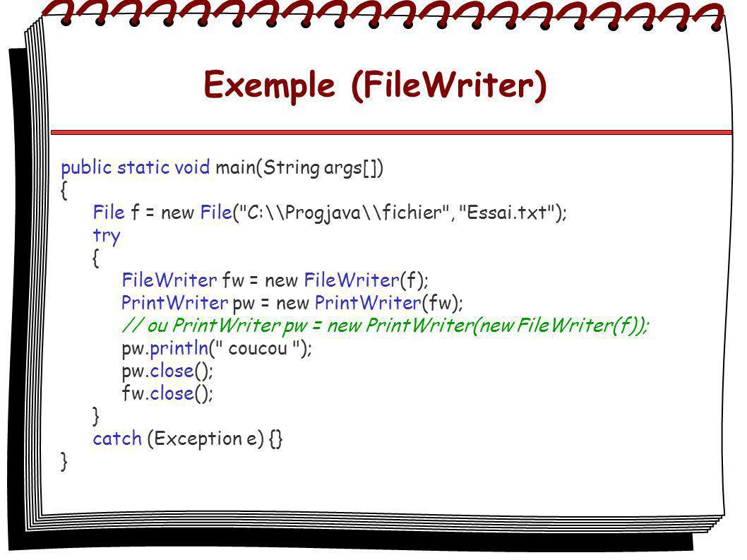 Exemple (FileWriter) public static void main(String args[]) { File f = new File( C:\\Progjava\\fichier , Essai.txt ); try { FileWriter fw = new FileWriter(f); PrintWriter pw = new PrintWriter(fw); // ou PrintWriter pw = new PrintWriter(new FileWriter(f)); pw.println( coucou ); pw.close(); fw.close(); } catch (Exception e) {} }
