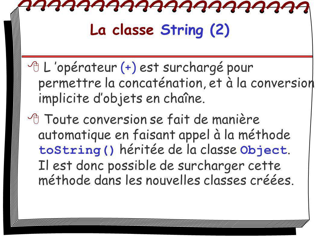 La classe String (2) L opérateur (+) est surchargé pour permettre la concaténation, et à la conversion implicite dobjets en chaîne. Toute conversion s