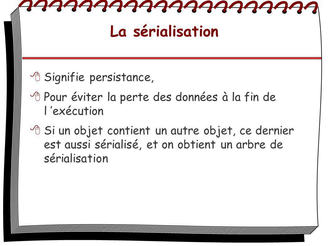 La sérialisation Signifie persistance, Pour éviter la perte des données à la fin de l exécution Si un objet contient un autre objet, ce dernier est aussi sérialisé, et on obtient un arbre de sérialisation
