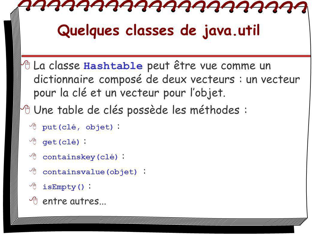Quelques classes de java.util La classe Hashtable peut être vue comme un dictionnaire composé de deux vecteurs : un vecteur pour la clé et un vecteur pour lobjet.