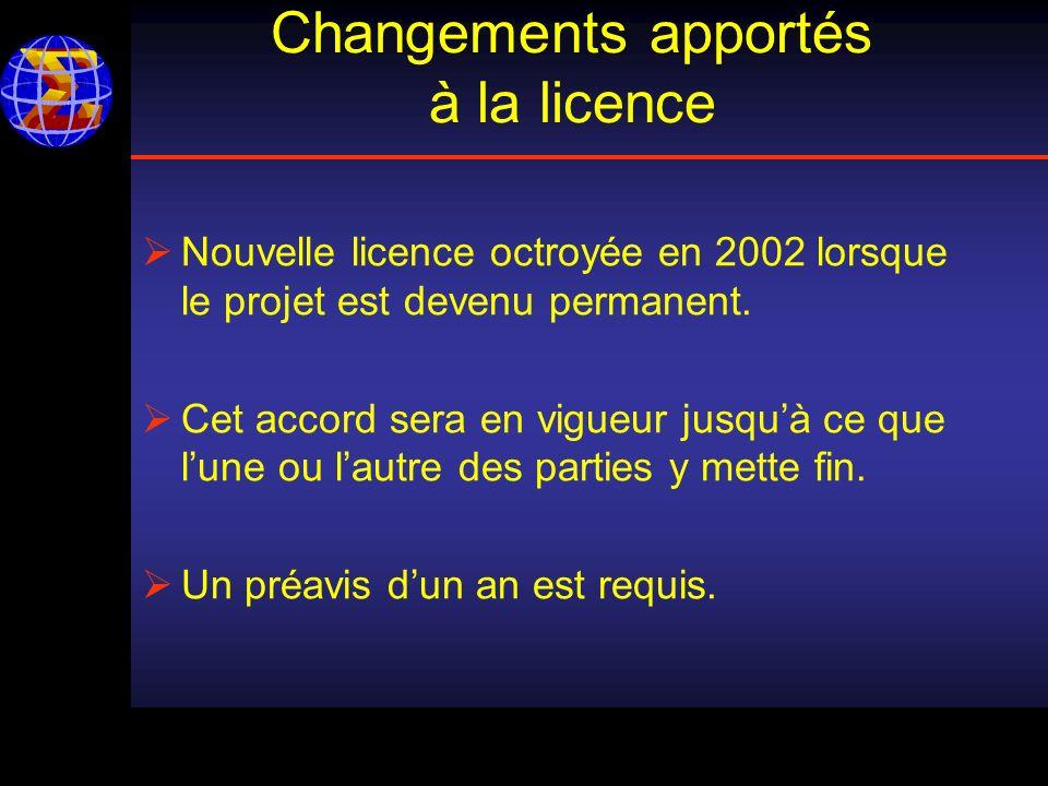 Changements apportés à la licence Nouvelle licence octroyée en 2002 lorsque le projet est devenu permanent.