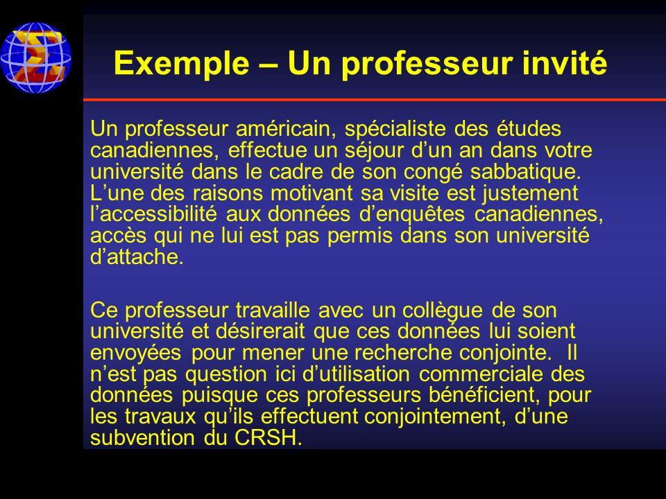 Exemple – Un professeur invité Un professeur américain, spécialiste des études canadiennes, effectue un séjour dun an dans votre université dans le cadre de son congé sabbatique.