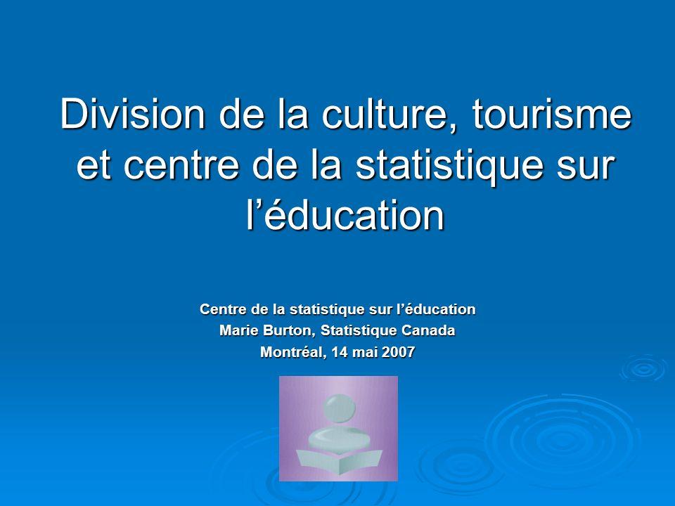 Division de la culture, tourisme et centre de la statistique sur léducation Centre de la statistique sur léducation Marie Burton, Statistique Canada Montréal, 14 mai 2007