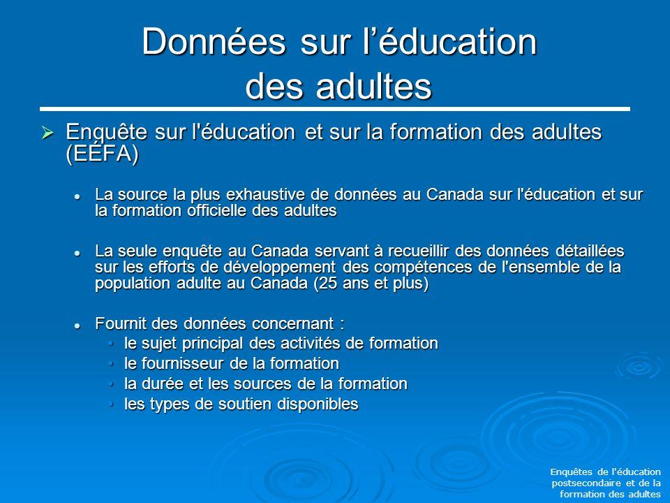 Données sur léducation des adultes Enquête sur l éducation et sur la formation des adultes (EÉFA) Enquête sur l éducation et sur la formation des adultes (EÉFA) La source la plus exhaustive de données au Canada sur l éducation et sur la formation officielle des adultes La source la plus exhaustive de données au Canada sur l éducation et sur la formation officielle des adultes La seule enquête au Canada servant à recueillir des données détaillées sur les efforts de développement des compétences de l ensemble de la population adulte au Canada (25 ans et plus) La seule enquête au Canada servant à recueillir des données détaillées sur les efforts de développement des compétences de l ensemble de la population adulte au Canada (25 ans et plus) Fournit des données concernant : Fournit des données concernant : le sujet principal des activités de formationle sujet principal des activités de formation le fournisseur de la formationle fournisseur de la formation la durée et les sources de la formationla durée et les sources de la formation les types de soutien disponiblesles types de soutien disponibles Enquêtes de l éducation postsecondaire et de la formation des adultes