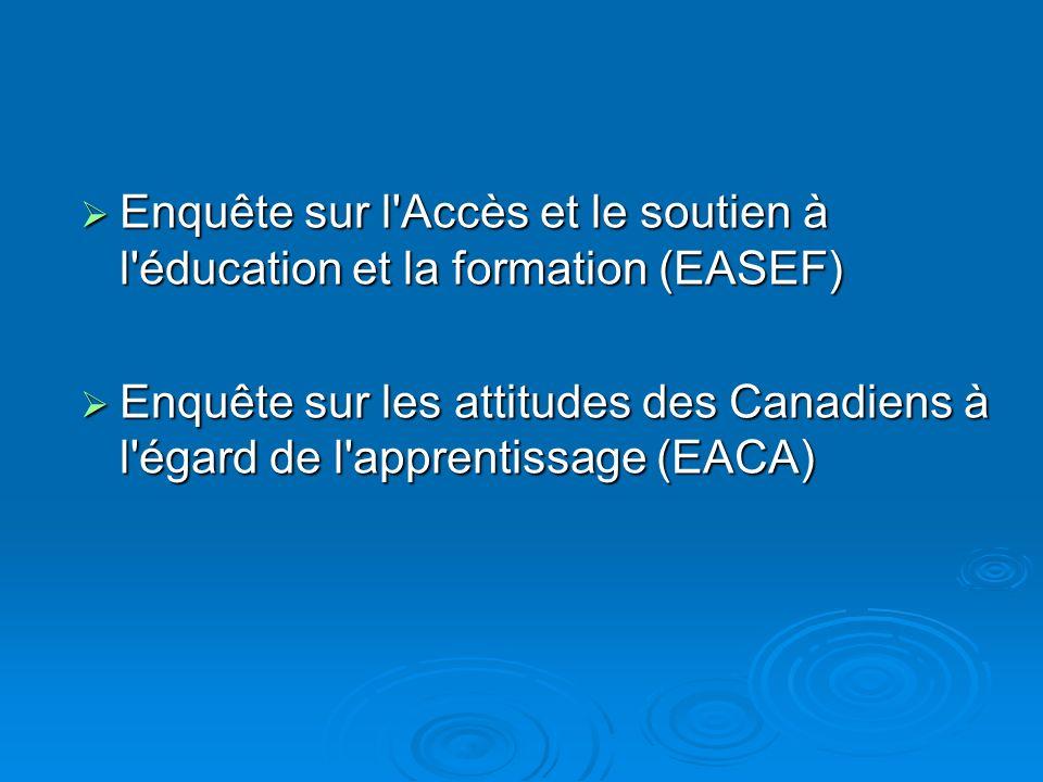Enquête sur l Accès et le soutien à l éducation et la formation (EASEF) Enquête sur l Accès et le soutien à l éducation et la formation (EASEF) Enquête sur les attitudes des Canadiens à l égard de l apprentissage (EACA) Enquête sur les attitudes des Canadiens à l égard de l apprentissage (EACA)