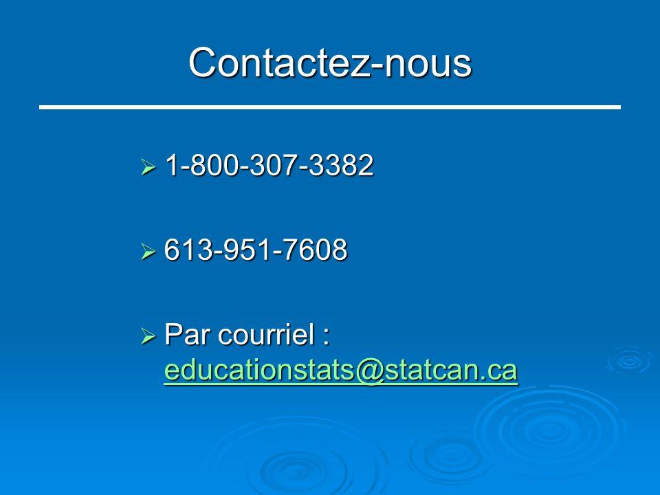 Contactez-nous 1-800-307-3382 1-800-307-3382 613-951-7608 613-951-7608 Par courriel : educationstats@statcan.ca Par courriel : educationstats@statcan.