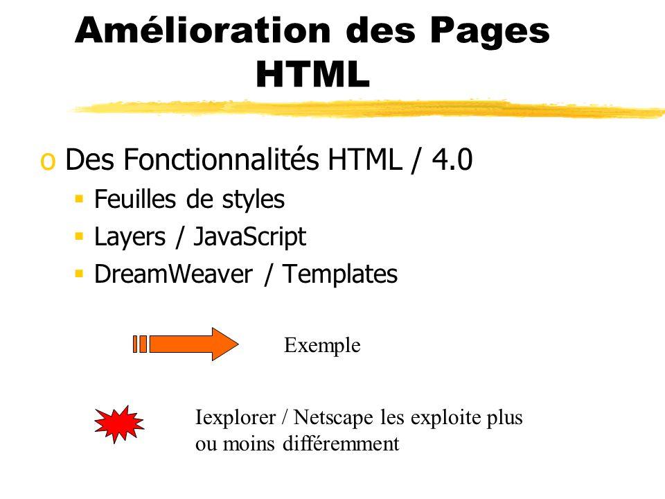 Amélioration des Pages HTML oDes Fonctionnalités HTML / 4.0 Feuilles de styles Layers / JavaScript DreamWeaver / Templates Exemple Iexplorer / Netscap