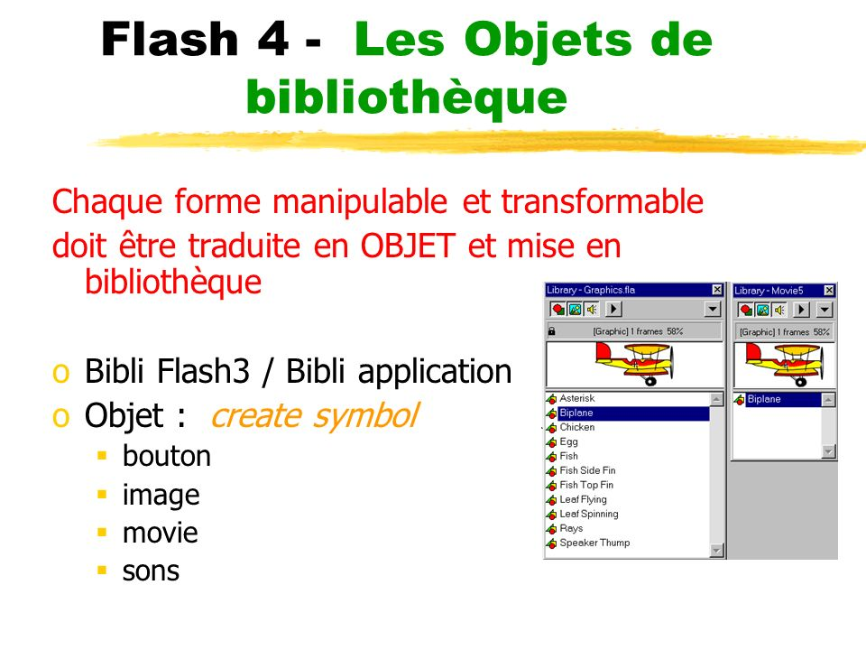 Flash 4 - Les Objets de bibliothèque Chaque forme manipulable et transformable doit être traduite en OBJET et mise en bibliothèque oBibli Flash3 / Bibli application oObjet : create symbol bouton image movie sons
