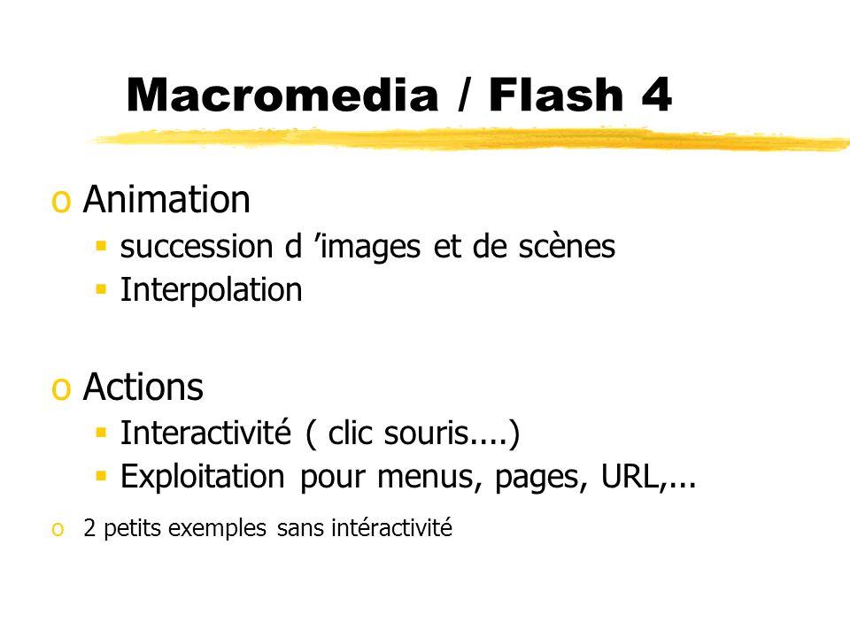 Macromedia / Flash 4 oAnimation succession d images et de scènes Interpolation oActions Interactivité ( clic souris....) Exploitation pour menus, page