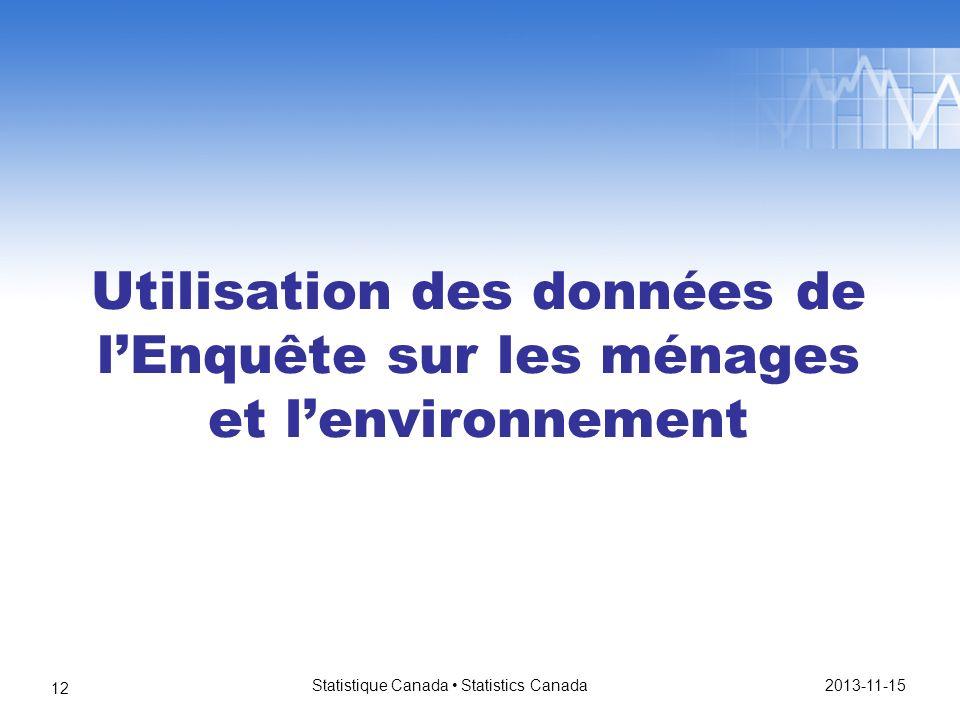 Utilisation des données de lEnquête sur les ménages et lenvironnement 2013-11-15 Statistique Canada Statistics Canada 12