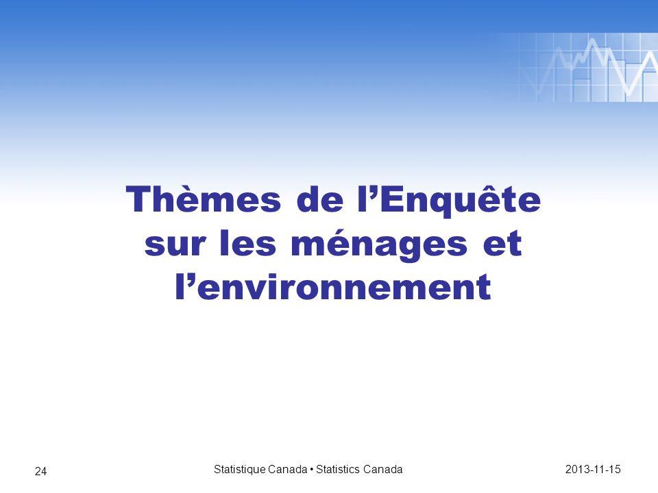 Thèmes de lEnquête sur les ménages et lenvironnement 2013-11-15 Statistique Canada Statistics Canada 24