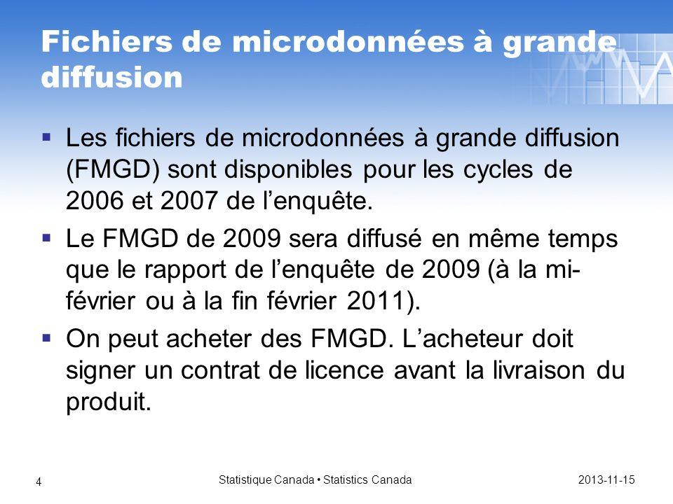 Fichiers de microdonnées à grande diffusion Les fichiers de microdonnées à grande diffusion (FMGD) sont disponibles pour les cycles de 2006 et 2007 de lenquête.