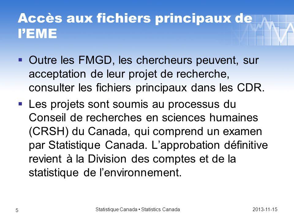 Accès aux fichiers principaux de lEME Outre les FMGD, les chercheurs peuvent, sur acceptation de leur projet de recherche, consulter les fichiers principaux dans les CDR.