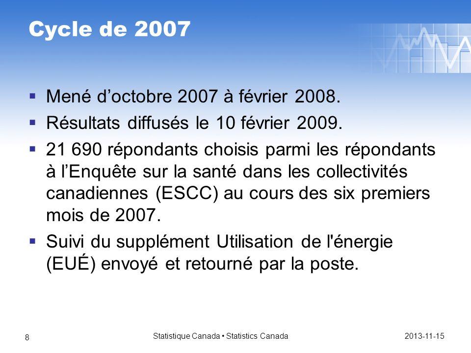 2013-11-15 Statistique Canada Statistics Canada 19 Avaient un thermostat Navaient pas de thermostat Ne savaient pas sils avaient un thermostat ou ont refusé de répondre à la question Tous les ménages