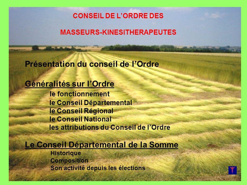 CONSEIL DE LORDRE DES MASSEURS-KINESITHERAPEUTES Présentation du conseil de lOrdre Généralités sur lOrdre le fonctionnement le Conseil Départemental l
