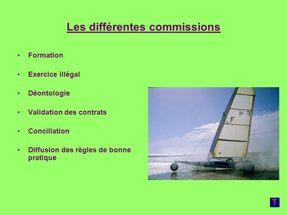 Les différentes commissions Formation Exercice illégal Déontologie Validation des contrats Conciliation Diffusion des règles de bonne pratique