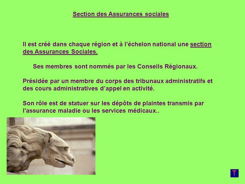 Section des Assurances sociales Il est créé dans chaque région et à l'échelon national une section des Assurances Sociales. Ses membres sont nommés pa