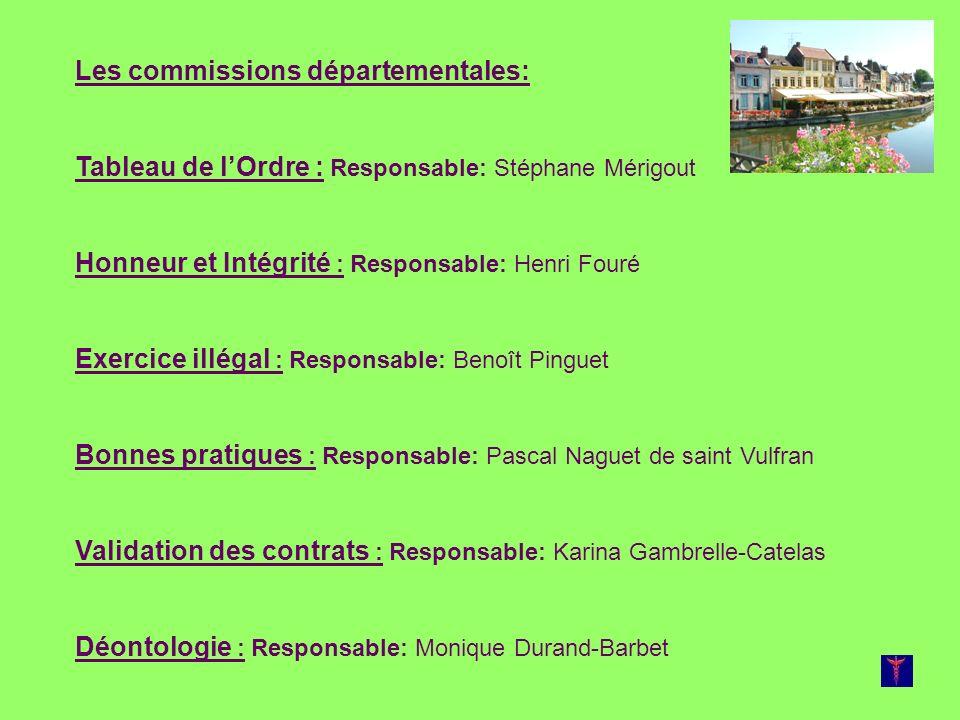 Les commissions départementales: Tableau de lOrdre : Responsable: Stéphane Mérigout Honneur et Intégrité : Responsable: Henri Fouré Exercice illégal :