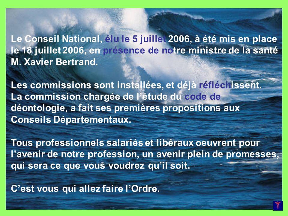 Le Conseil National, élu le 5 juillet 2006, à été mis en place le 18 juillet 2006, en présence de notre ministre de la santé M. Xavier Bertrand. Les c