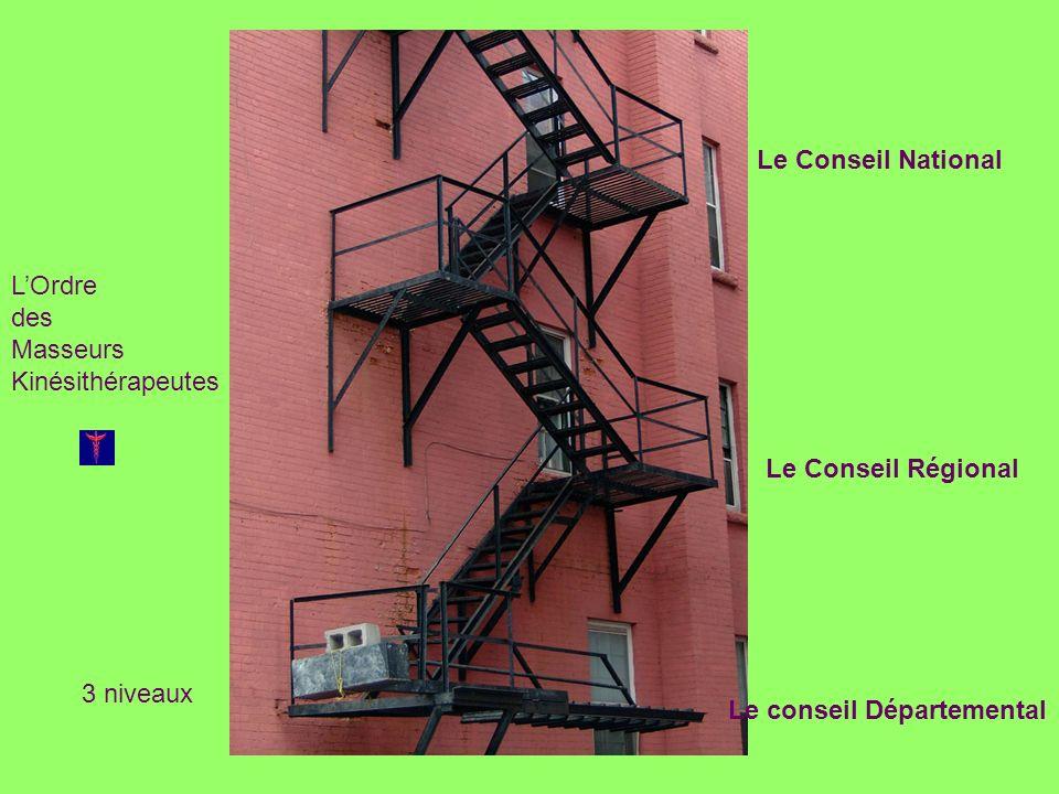 LOrdre des Masseurs Kinésithérapeutes 3 niveaux Le Conseil National Le Conseil Régional Le conseil Départemental