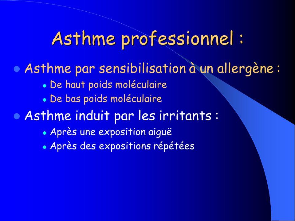 Asthme professionnel : Asthme par sensibilisation à un allergène : De haut poids moléculaire De bas poids moléculaire Asthme induit par les irritants