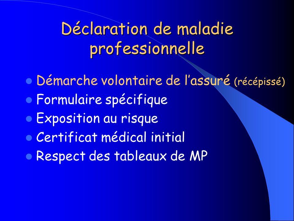 Déclaration de maladie professionnelle Démarche volontaire de lassuré (récépissé) Formulaire spécifique Exposition au risque Certificat médical initia