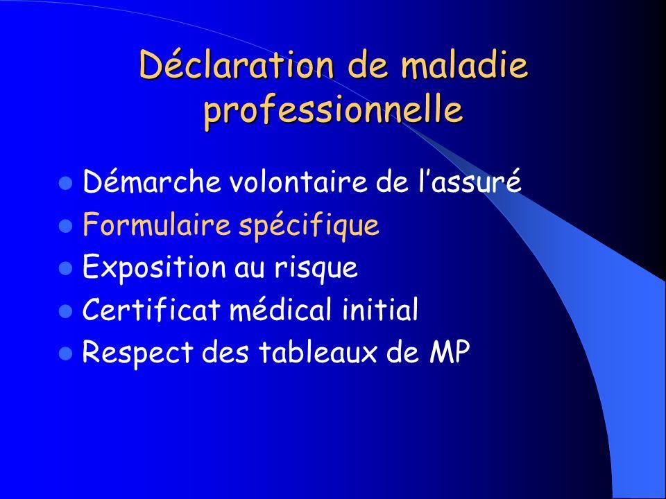 Déclaration de maladie professionnelle Démarche volontaire de lassuré Formulaire spécifique Exposition au risque Certificat médical initial Respect de